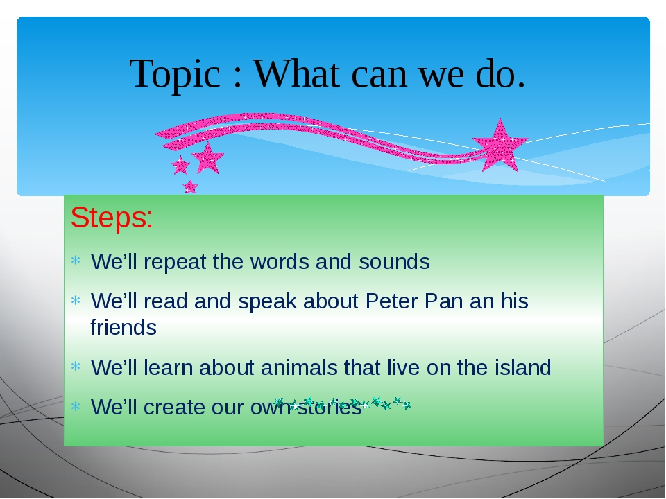 Steps: We'll repeat the words and sounds We'll read and speak about Peter Pan...
