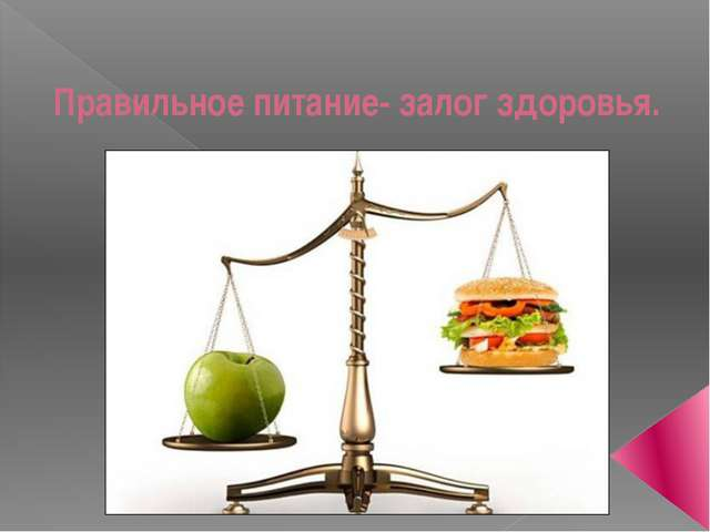 Правильное питание- залог здоровья.