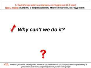 3. Выявление места и причины затруднения (2-3 мин) Цель этапа: выявить и заф