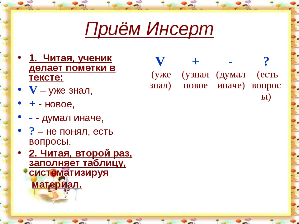 Приём Инсерт 1. Читая, ученик делает пометки в тексте: V – уже знал, + - ново...