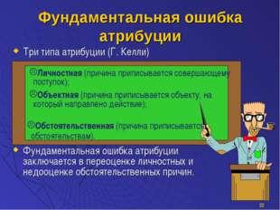 * Фундаментальная ошибка атрибуции Три типа атрибуции (Г. Келли) Фундаменталь