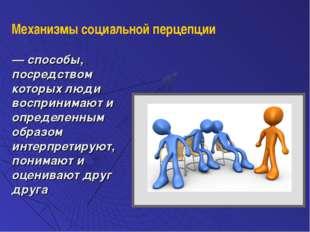 — способы, посредством которых люди воспринимают и определенным образом интер