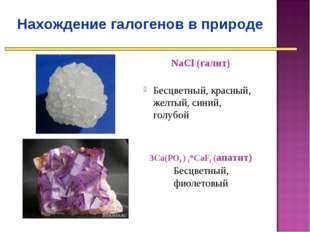 Нахождение галогенов в природе NaСl (галит) Бесцветный, красный, желтый, син