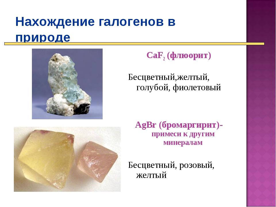 Нахождение галогенов в природе CaF2 (флюорит) Бесцветный,желтый, голубой, фио...