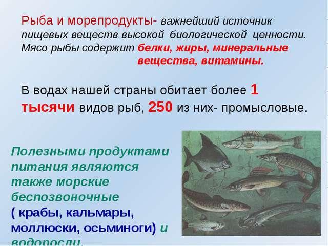 Рыба и морепродукты- важнейший источник пищевых веществ высокой биологической...