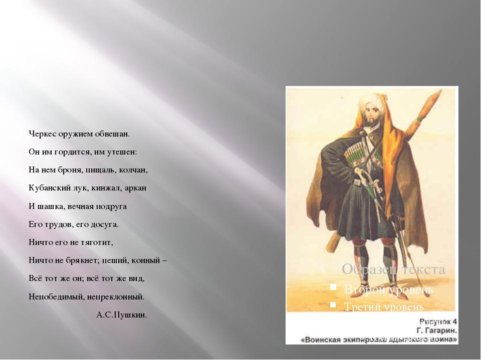 Черкес оружием обвешан. Он им гордится, им утешен: На нем броня, пищаль, кол...
