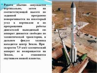 Ракета обычно запускается вертикально, затем на соответствующей высоте по зад