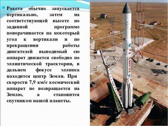 Ракета обычно запускается вертикально, затем на соответствующей высоте по зад...
