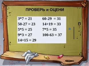 ПРОВЕРЬ и ОЦЕНИ П  3*7 = 21 60-29= 31 50-27 = 23 14+19 = 33 5*5 = 25 7*5= 35