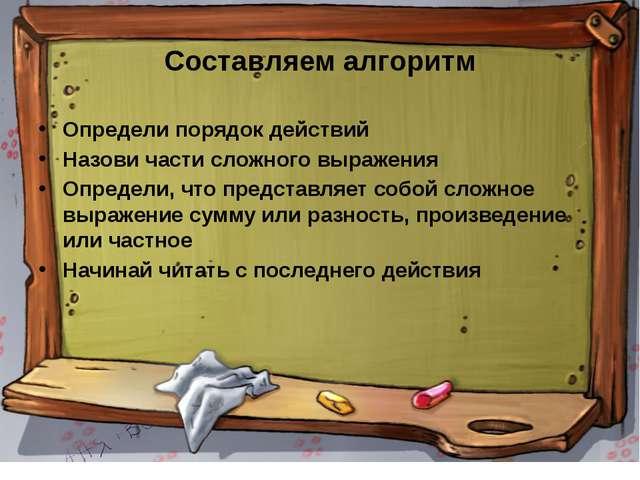Составляем алгоритм Определи порядок действий Назови части сложного выражения...