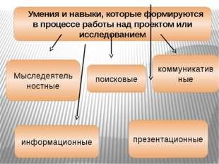 Умения и навыки, которые формируются в процессе работы над проектом или ис