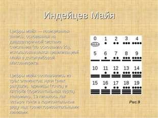 Индейцев Майя Цифры майя — позиционная запись, основанная на двадцатеричной с
