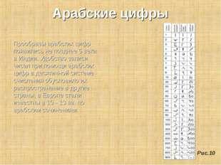 Арабские цифры Прообразы арабских цифр появились не позднее 5 века в Индии. У