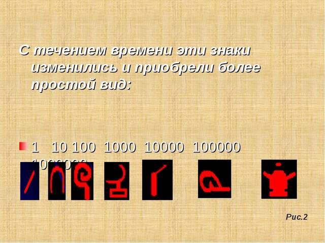 С течением времени эти знаки изменились и приобрели более простой вид: 1 10...