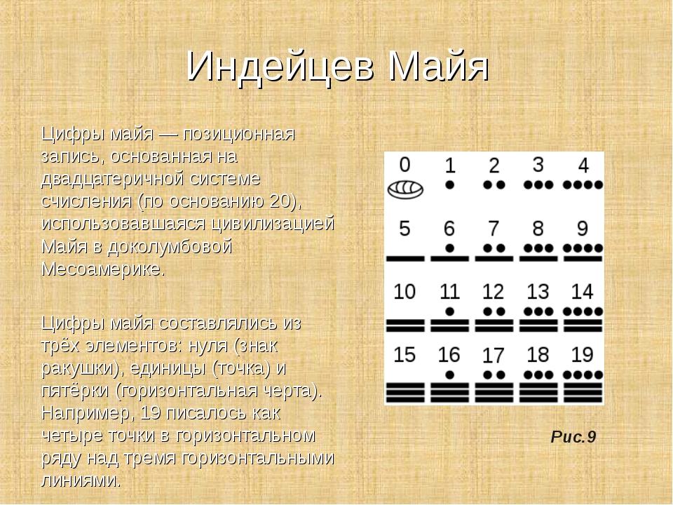 Индейцев Майя Цифры майя — позиционная запись, основанная на двадцатеричной с...