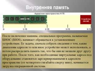 Внутренняя память После включения машины, специальная программа, называемая Б