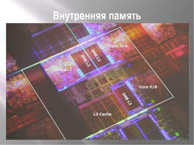 Внутренняя память Кэш-память, или сверхоперативная память – очень быстрое ЗУ...