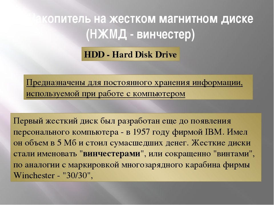 Накопитель на жестком магнитном диске (НЖМД - винчестер) Предназначены для по...