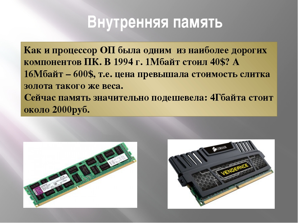 Внутренняя память Как и процессор ОП была одним из наиболее дорогих компонент...