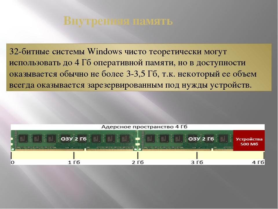 32-битные системы Windows чисто теоретически могут использовать до 4 Гб опера...