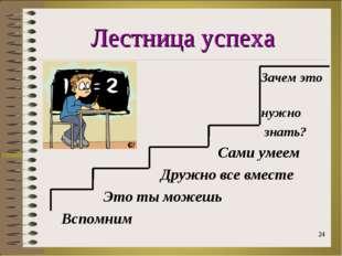 Лестница успеха Зачем это нужно знать? Сами умеем Дружно все вместе Это ты мо