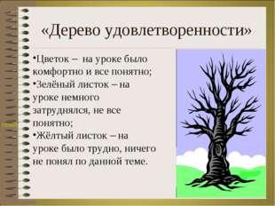 «Дерево удовлетворенности» * Цветок – на уроке было комфортно и все понятно;
