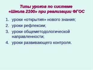 Типы уроков по системе «Школа 2100» при реализации ФГОС уроки «открытия» ново