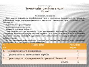 Варіативний модуль Технологія плетіння з лози (7-9 клас) Пояснювальна записка