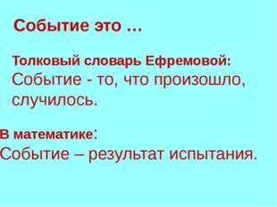 Толковый словарь Ефремовой: Событие - то, что произошло, случилось. Событие э