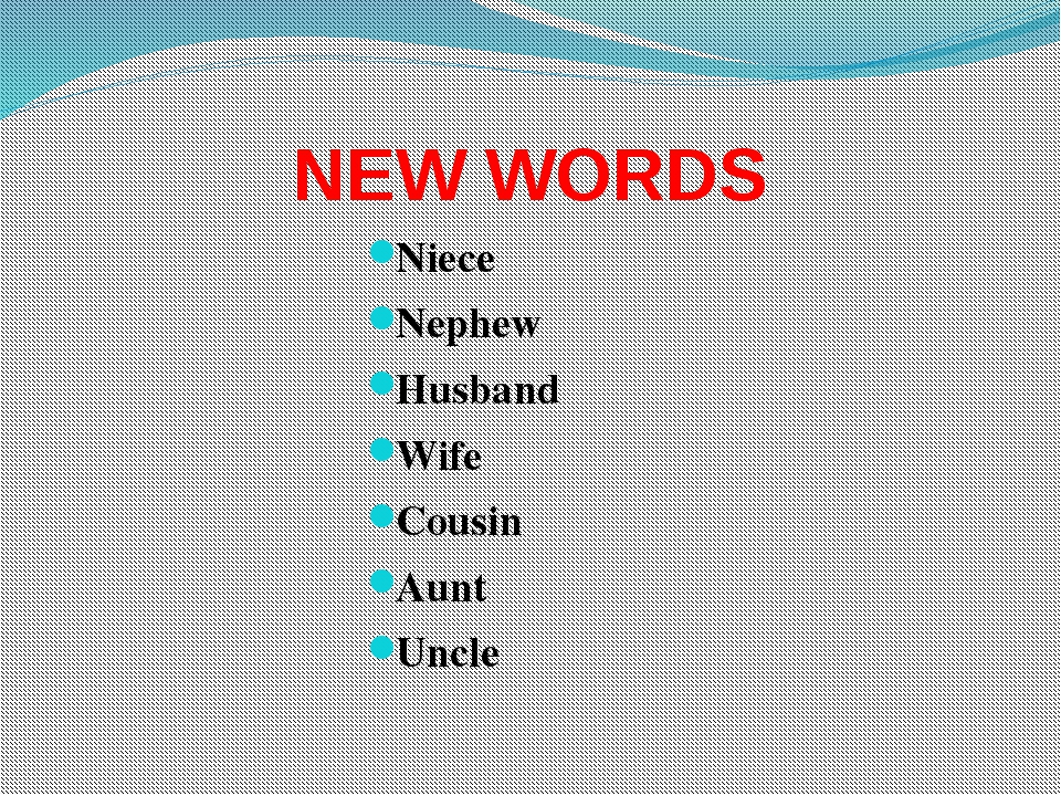 NEW WORDS Niece Nephew Husband Wife Cousin Aunt Uncle