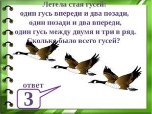 Летела стая гусей: один гусь впереди и два позади, один позади и два впереди,