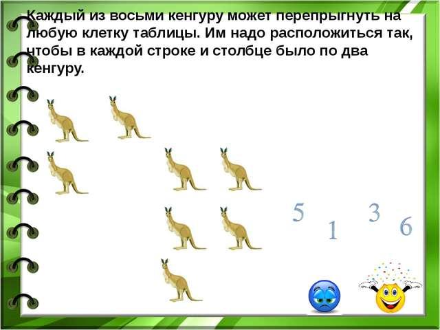Каждый из восьми кенгуру может перепрыгнуть на любую клетку таблицы. Им надо...