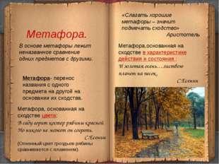 Метафора. «Слагать хорошие метафоры – значит подмечать сходство» Аристотель В