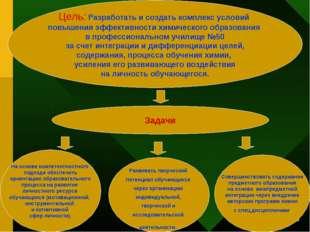 * Цель: Разработать и создать комплекс условий повышения эффективности химиче