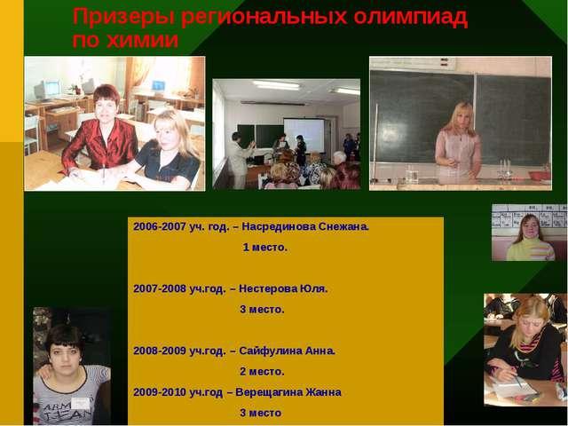 Призеры региональных олимпиад по химии * 2006-2007 уч. год. – Насрединова Сне...