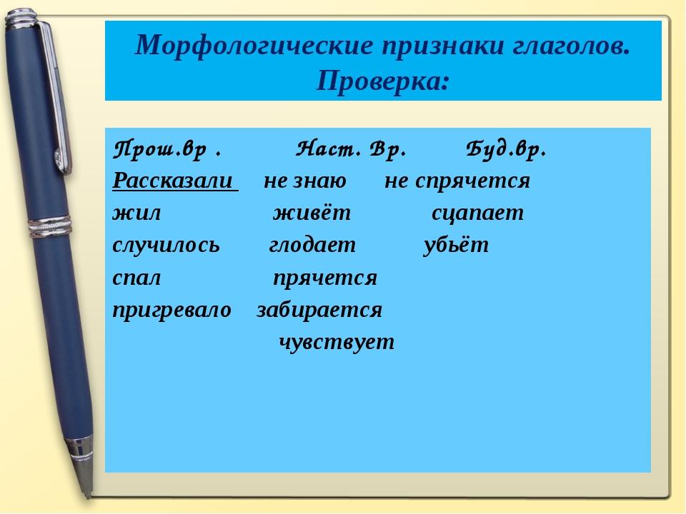 Морфологические признаки глаголов. Проверка: Прош.вр . Наст. Вр. Буд.вр. Расс...