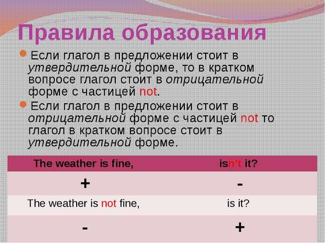 Правила образования Если глагол в предложении стоит в утвердительной форме, т...