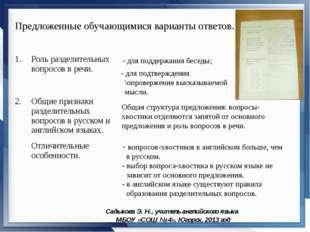 Садыкова Э. Н., учитель английского языка МБОУ «СОШ № 4», Югорск, 2013 год Пр