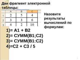 * Дан фрагмент электронной таблицы: Назовите результаты вычислений по формула
