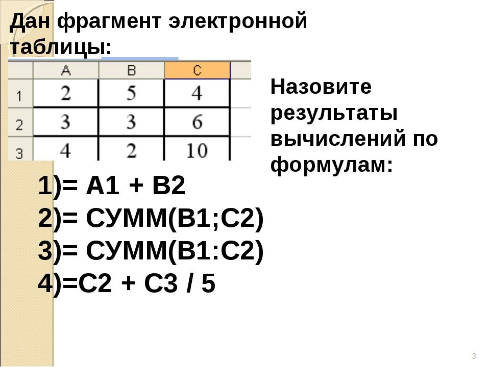* Дан фрагмент электронной таблицы: Назовите результаты вычислений по формула...