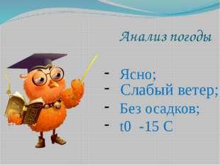 Анализ погоды Ясно; Слабый ветер; Без осадков; t0 -15 C