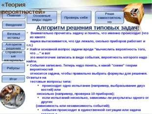 Главная Введение Вечные истины Алгоритм решения Справочные материалы Итог Спр