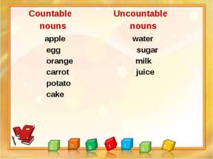 Countable Uncountable nouns nouns apple water egg sugar orange milk carrot j