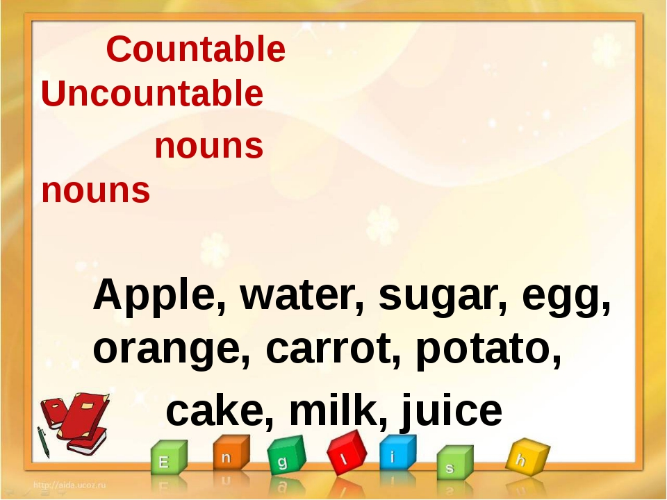 Countable Uncountable nouns nouns Apple, water, sugar, egg, orange, carrot,...