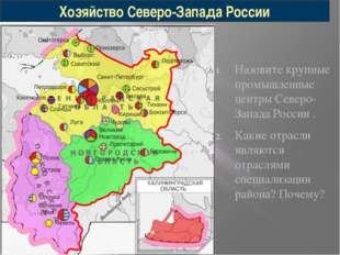 Назовите крупные промышленные центры Северо-Запада России . Какие отрасли явл