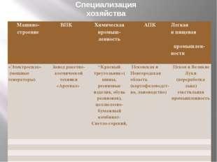 Специализация хозяйства Машино-строение ВПК Химическаяпромыш-ленность АПК Лег
