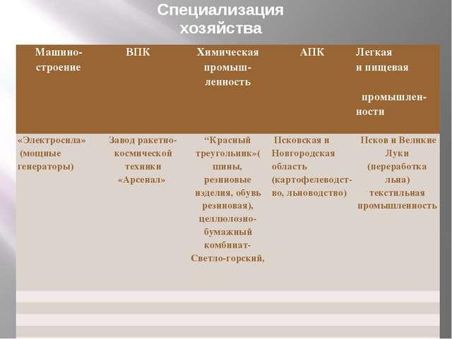 Специализация хозяйства Машино-строение ВПК Химическаяпромыш-ленность АПК Лег...