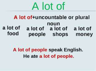 A lot of A lot of+uncountable or plural noun a lot of food a lot of people a