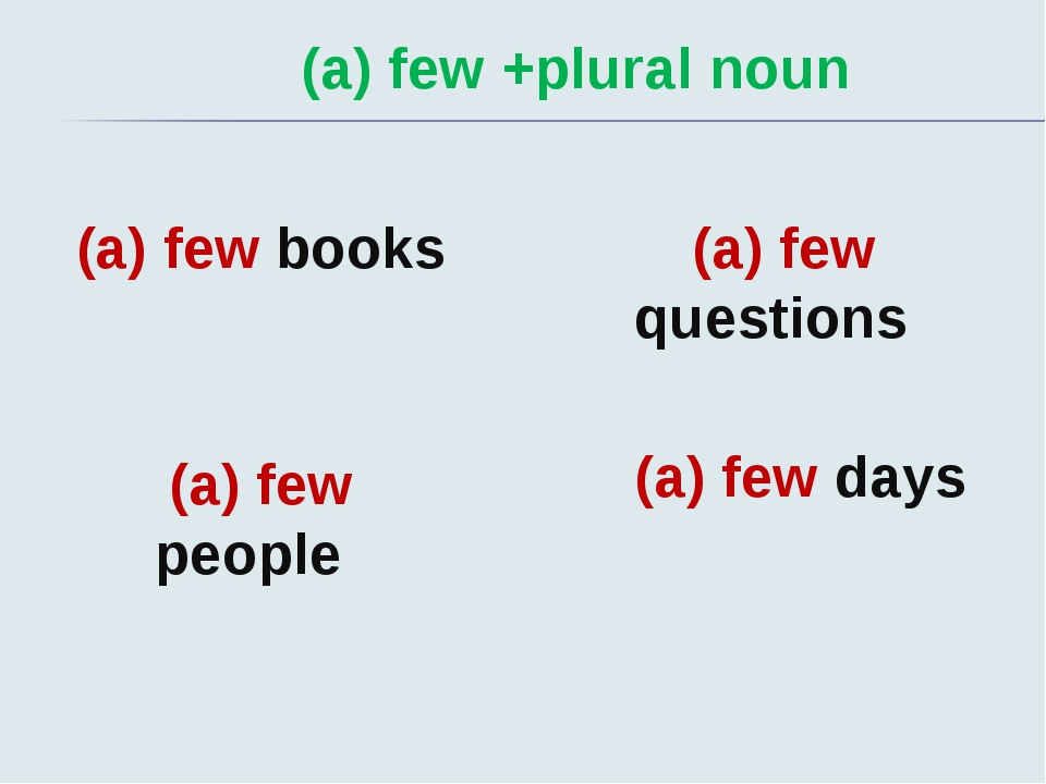 (a) few +plural noun (a) few books (a) few people (a) few questions (a) few d...