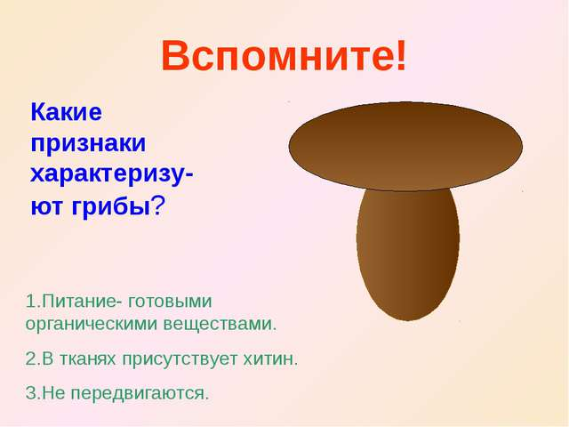 Вспомните! Какие признаки характеризу-ют грибы? 1.Питание- готовыми органичес...